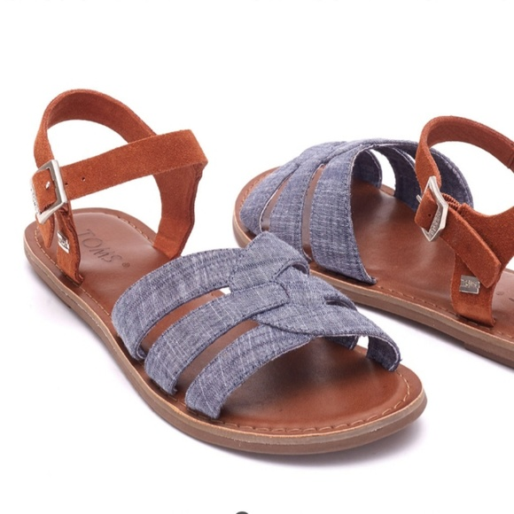 771ce91e179 Toms Chambray Brown Suede Women s Zoe Sandals